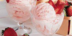 """آيس كريم فراولة """"ice cream strawberry"""" سريع التحضير و بثلاث مكونات"""